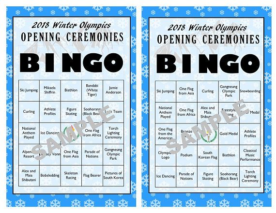 Let the games begin! The 2018 Winter Olympics Opening Ceremonies will take place in PyeongChang, South Korea on February 9th. Play along with our BINGO game as guests cross off events, items, people and places as they are seen and/or mentioned during the opening ceremonies. The