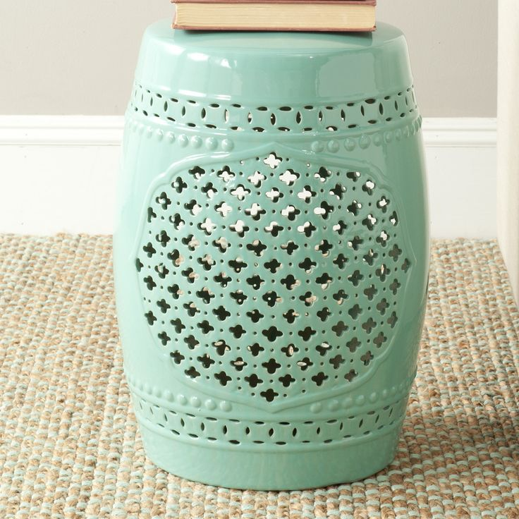 safavieh quatrefoil garden stool wayfair i love the color and center design