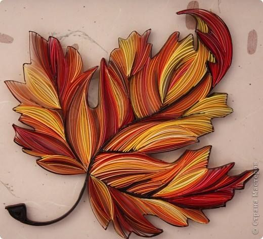 Yulia Brodskaya - Quilled Leaf - as only Yulia can do! - as shown by: ‪ Alysiane France ‬LE QUILLING FRANCAIS on FB