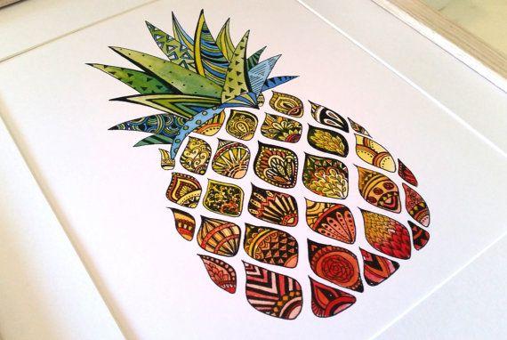 Zentangle Pineapple Watercolour Print, home decor, modern wall art, pineapple art print, funky fresh, office print