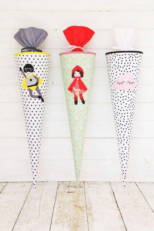Süße Schultüten für Jungen und Mädchen - ganz einfach selber machen für den Schulanfang