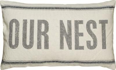 """This super popular """"Our Nest"""" pillow is lovely for a living room or bedroom! SIZE: 25"""" x 15"""" Linen"""
