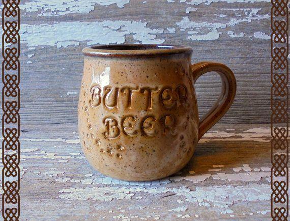 Boter bier mok - handgemaakt aardewerk mok - Potter mok - Butterbeer - steengoed