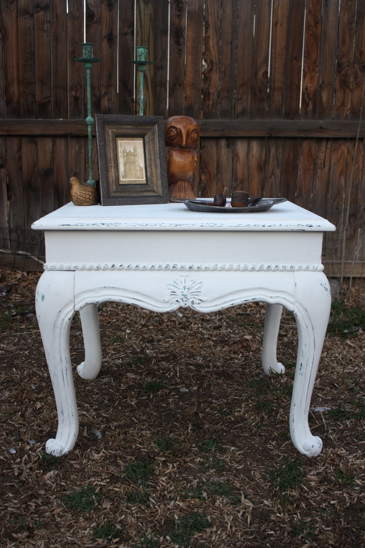 The Hartford-Shabby Chic end table $140 - Denver http://furnishly. White  Chalk PaintAntique FurniturePainted ... - 111 Best Denver Listings Images On Pinterest Denver, Desks And