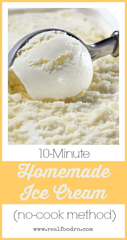 10-Minute Homemade Ice Cream. When you want ice cream, you don't want to wait hours to be able to eat it! This method does not require any cooking and is ready to eat in no time at all! realfoodrn.com #icecream #nocookicecream