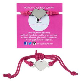 String Bracelet - ($5) Surprise mum with a hot pink string bracelet featuring a metal heart shaped charm - a great way to show your support for the McGrath Foundation!  http://shoppink.mcgrathfoundation.com.au/prodetail.asp?proid=31303&tags[]=Fashion