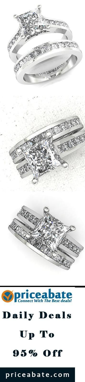 #priceabatedeals  3.00 CT PRINCESS CUT ENGAGEMENT RING  AND WEDDING BAND IN 14 KT SOLID WHITE GOLD - Buy This Item Now For Only: $249.99