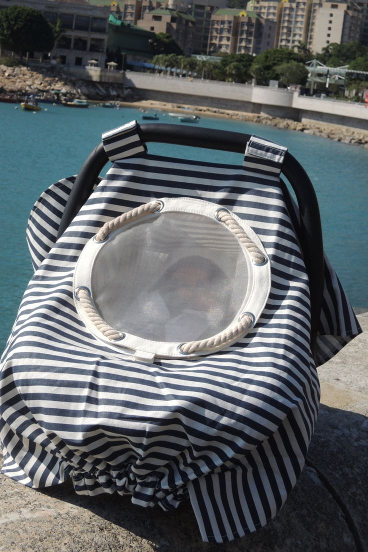 Infant car seat canopy  nautical stripes by TheYellowPacifier, $33.00