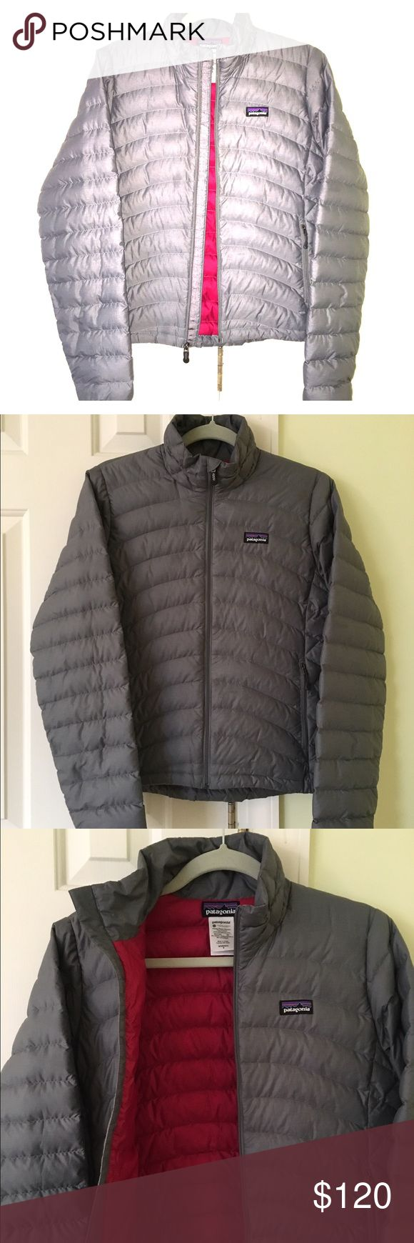 Patagonia Women's Down Sweater Jacket Patagonia Down Sweater Jacket, women's size small. Purchased one year ago and worn very lightly! In great shape with no stains/tears/holes etc. The neutral color is great and goes with everything, while the bright pink inside gives a fun pop. Super warm and versatile! Patagonia Jackets & Coats Puffers