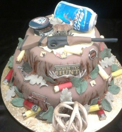 hunting party ideas | Photo Gallery - Photo Of The Hunter's Cake minus the beer can and snuff can...lol