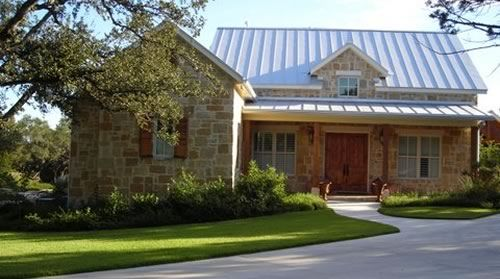 """Small """"texas hill country"""" home design - porch, beams, stone, metal roof"""
