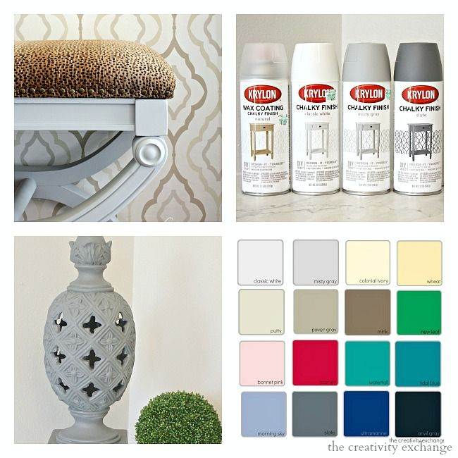 New Krylon Chalk Paint Finish Spray Paint. Tips for how to use it and colors.  Gorgeous Chalk finish.