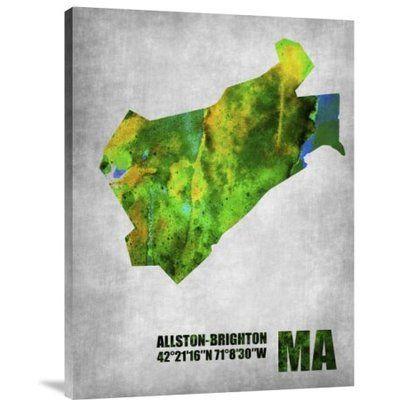 "Naxart 'Allston Brighton Massachusetts' Graphic Art Print on Canvas Size: 32"" H x 24"" W x 1.5"" D"