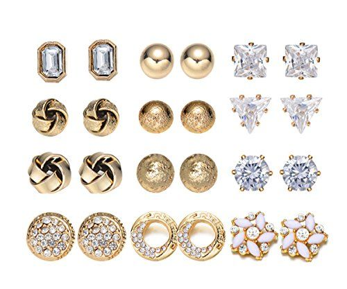 2ebb55bbc Onnea 12 Pairs Variety Assorted Novelty Studs Earrings Set Hypoallergenic  Gold Tone -- Click image for more details.-It is an affiliate link to  Amazon.