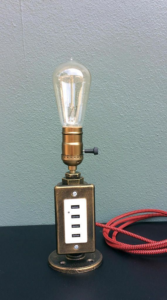 Industrial Lamp Pipe Lamp Usb Charging Station Distressed Copper
