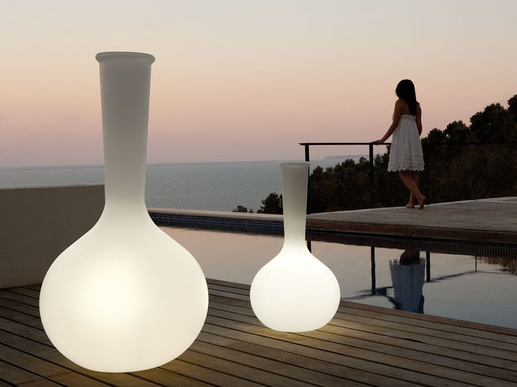 Chemist Tubes collection, outdoor vases with LED feature