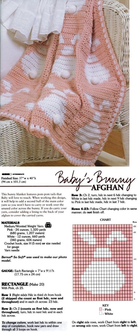 baby bunny crochet afghan. Can't find the rest of the pattern anywhere. Possible blankets: 1. Do not do squares, just continue pattern across adding stitches between bunnies and several rows in between. 2. Randomly place bunnies throughout blanket