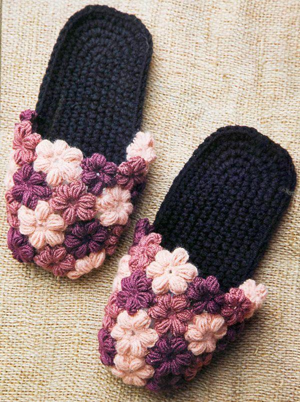 «Цветочные» шлепанцы из журнала «Вязаный креатив» вязаные крючком