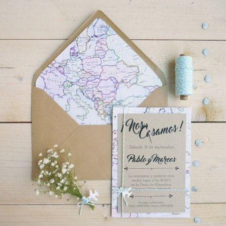 Invitación boda, Mapa Kraft Holamama