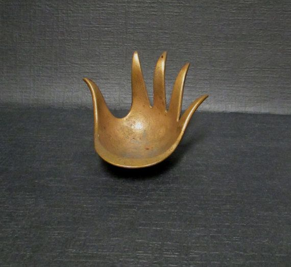 Vintage Bronze Hand Ashtray Weird Unusual Conversation Piece Walter Bosse like Design from 1960s, an unusual Mid Century piece.    This is a very