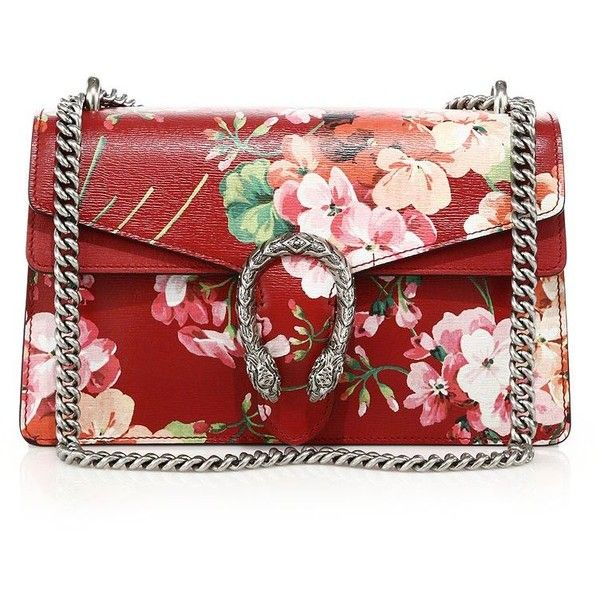 Gucci Dionysus Blooms Shoulder Bag (4,300 BAM) ❤ liked on Polyvore featuring bags, handbags, shoulder bags, apparel & accessories, red purse, floral leather handbag, red leather handbag, red handbags and leather handbags