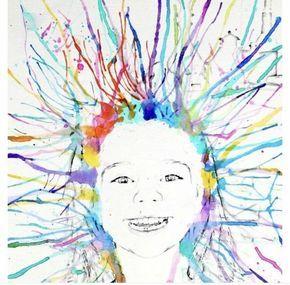 Print een zwart-wit foto van iedere leerling zo licht mogelijk af. Met een penseel plaatsen de kinderen een druppel ecoline rondom het ...
