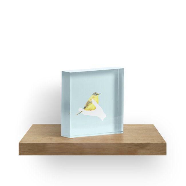 Acrylblock das neue Schuljahr   Schulanfang   Unistart   neues Semester   Geschenk   Schreibtisch   Deko   Zuhause   kreativ   Vogel   hellblau   Illustration   Farben   A friend in my hand - 1 von youdesignme