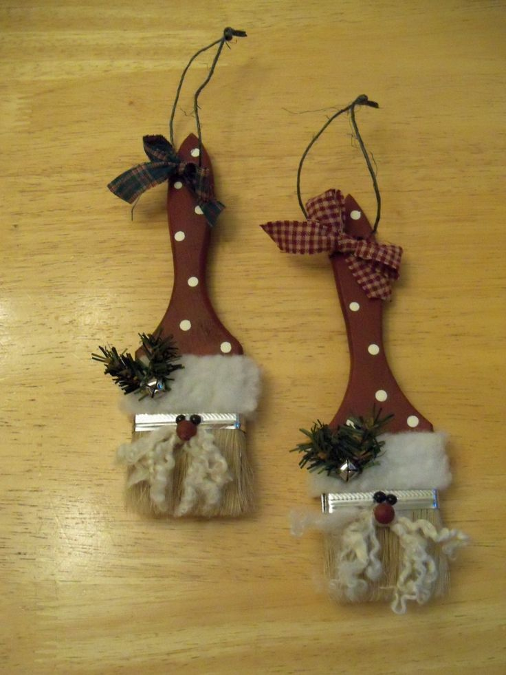 Paint Brush Santa Ornament/Decoration by TheBlueSpottedOwl on Etsy, $6.00