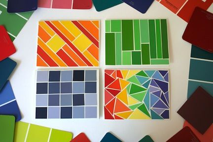 Cut asymmetrical paint chips and tape them to DIY modern art.