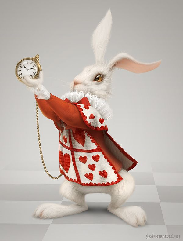 Rabbit for a child's playroom in shopping mall. He is showing parents that kids still have some time to play.  Rabbit by Gediminas Pranckevicius, via Behance
