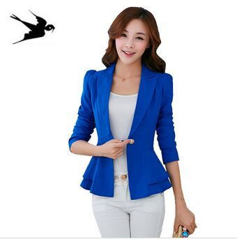Fashion Jacket Blazer Women Suit Foldable Long Sleeves Lapel Coat Candy Color Blazer Single Button Vogue Blazers Jackets SS197