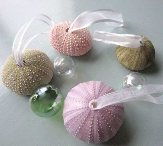 Beach Decor Sea Urchin Christmas Ornament Set by beachgrasscottage, $15.00