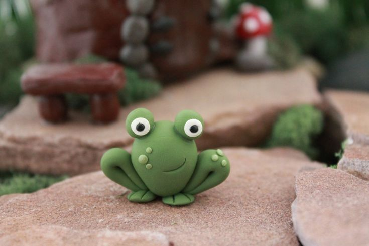 Polymer Clay Frog - Miniature Frog - Mini Clay Frog - Fairy Garden Accessory - Terrarium Accessory – Frog Sculpture – Garden Decoration by GnomeWoods on Etsy https://www.etsy.com/listing/200460732/polymer-clay-frog-miniature-frog-mini