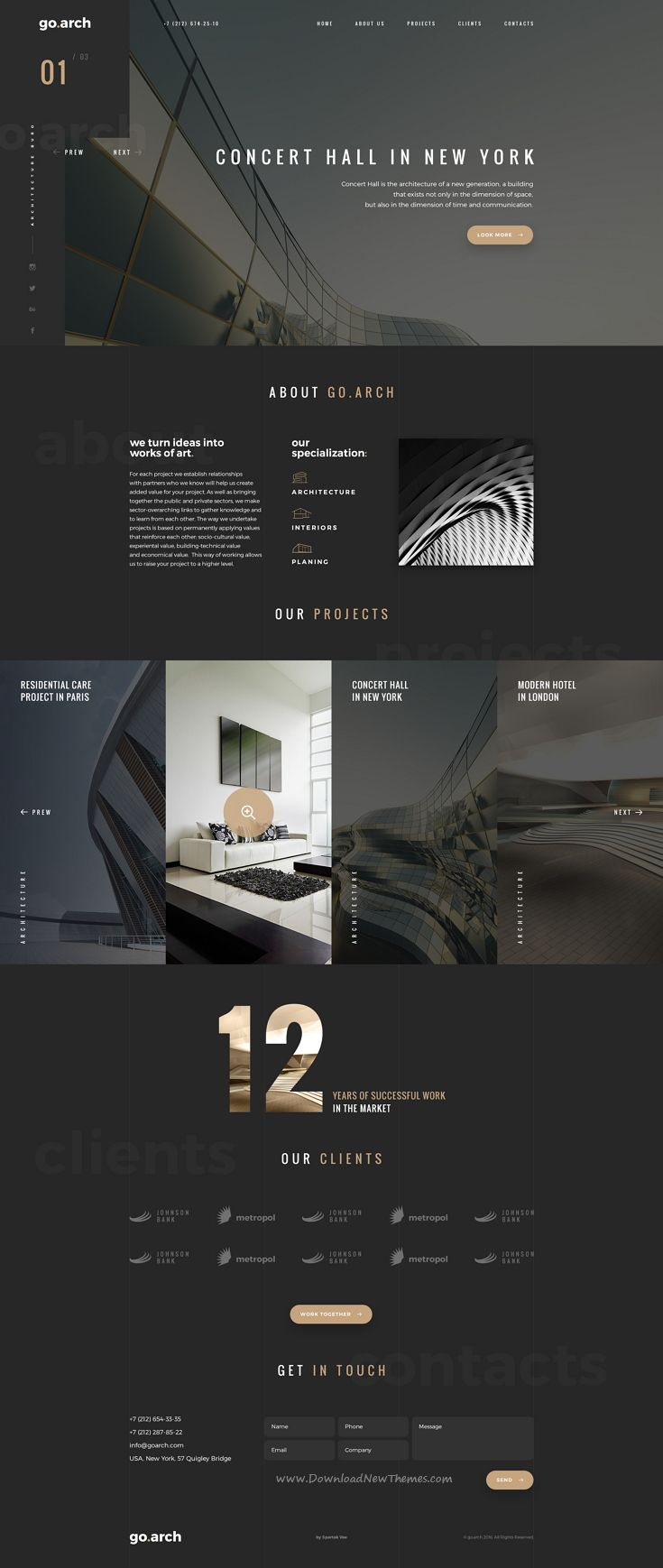 go.arch is a luxury, elegant and trendy #PSD template designed in two color styles: black & white for #architecture buerau, #interior #design and and other corporate or creative #websites. Download Now!