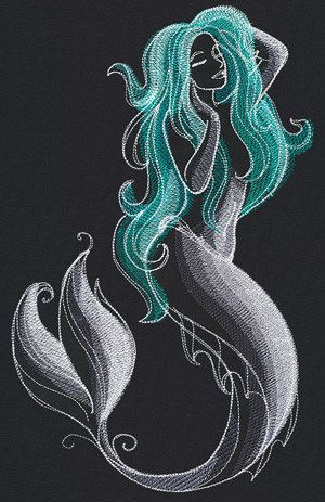 Mystical Mermaid Hoodie Embroidered Fantasy Hooded Sweatshirt by WhiteWizardPurpleElf on Etsy