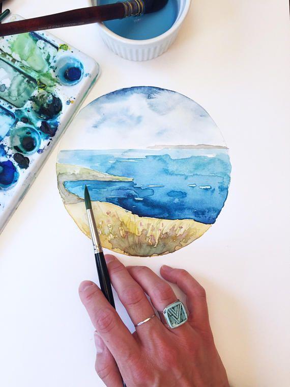 ORIGINAL watercolor  I Dream in Blue Water