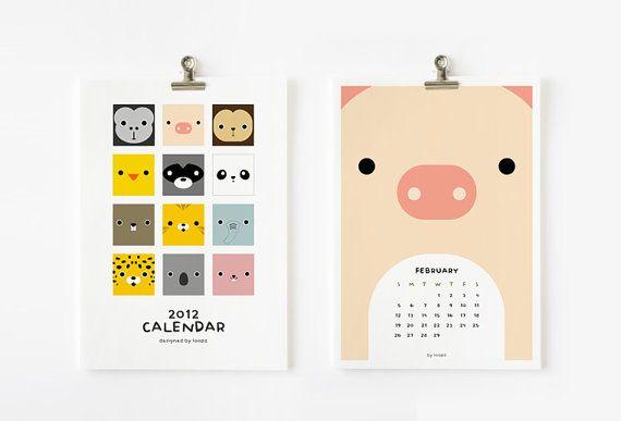 2012 Calendar, Cute Animal Printable / $6.00
