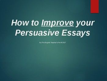 """Looking for a PowerPoint that reviews your students on the elements of a great persuasive argument essay? Included in this comprehensive 24 slide PowerPoint are the """"do's"""" and """"do not's"""" of how to craft a great argument essay. The PowerPoint covers classic Do Not's of context (do not use slang or"""