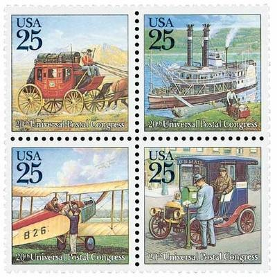 1989 25c Traditional Mail Delivery, Block of 4 Scott 2434-37 Mint F/VF NH