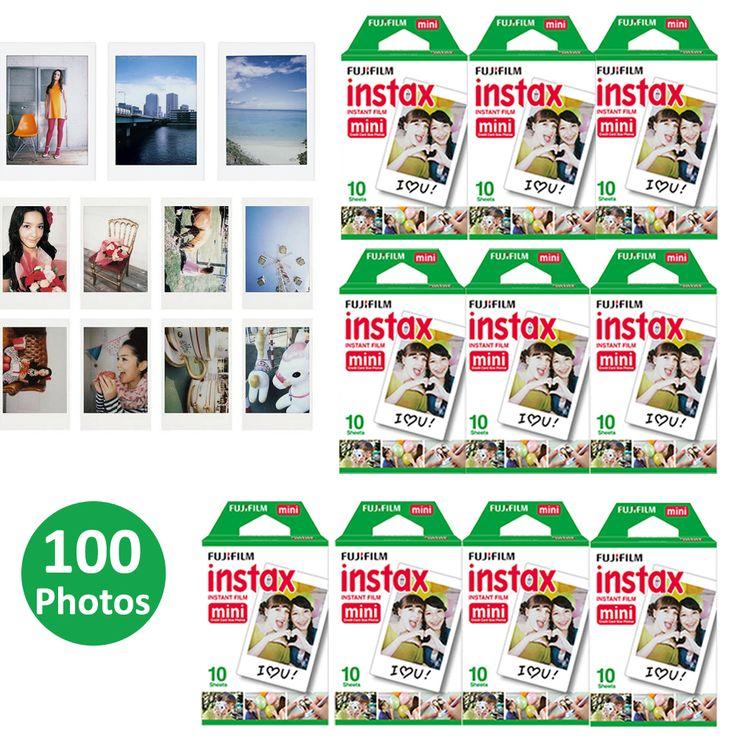 100 Sheets Fujifilm Instax Mini 8 film for Fuji Instax Mini 7s 8 9 70 25 50s 90 Instant Photo Camera Share SP-1 SP-2 White Film
