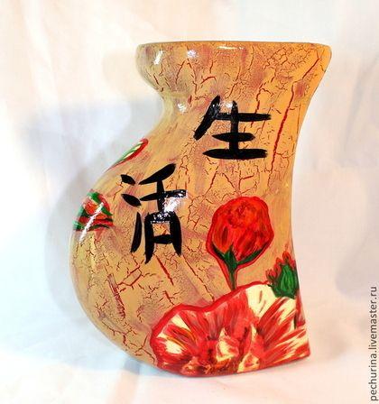 """Ваза """"Японская роза"""" - Декупаж,ваза для цветов,ваза декупаж,ваза декоративная"""