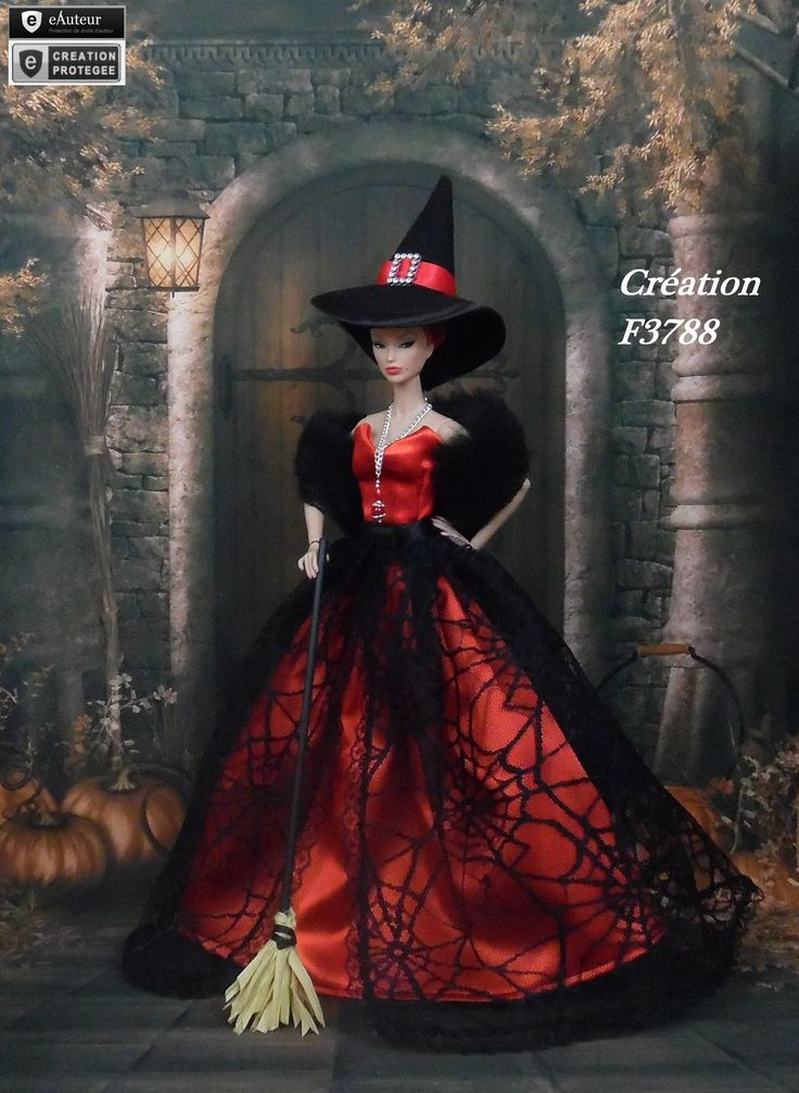 robe barbie halloween n 12 v tement sorci re d 39 halloween pour poup e barbie silkstone fashion. Black Bedroom Furniture Sets. Home Design Ideas