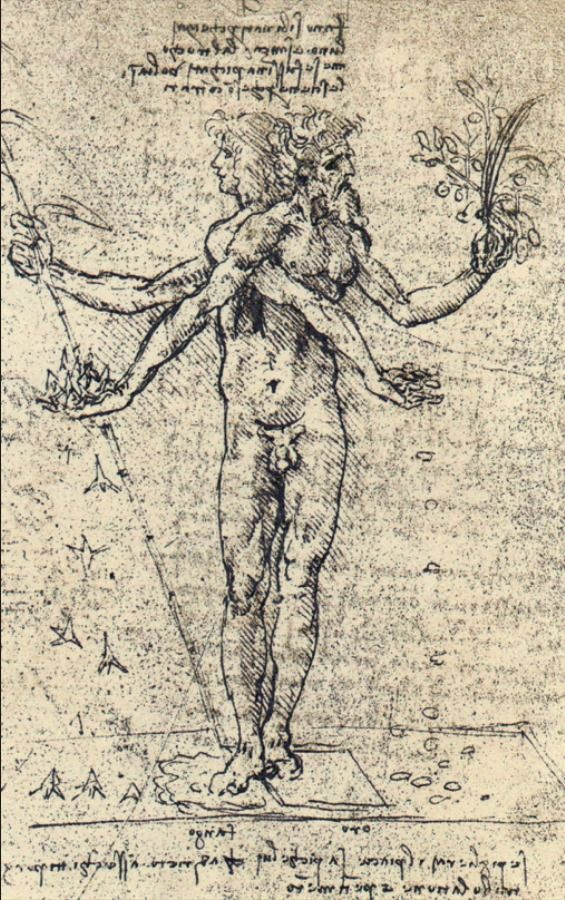 Leonardo da Vinci. Unknown Drawing of Androgyn Corpus with Two Heads. 1500s.