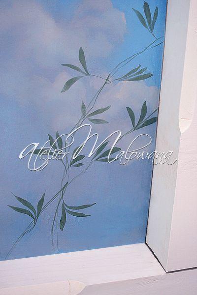 Malarstwo ścienne, iluzjonistyczne - pnącze, fragment dekoracji sufitu w Atelier Malowana. © 2014 Atelier Malowana. All rights reserved. http://ateliermalowana.pl/