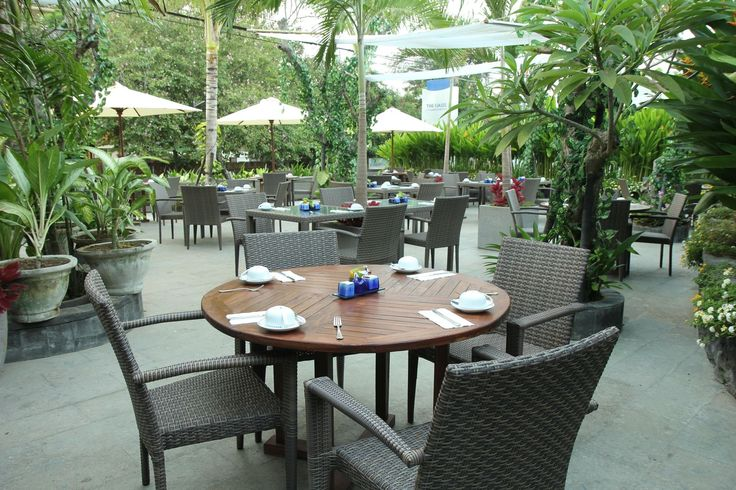 Open air restaurant at The Oasis Lagoon Sanur, Bali.