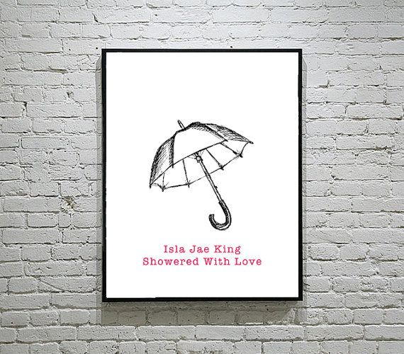 Baby Shower Umbrella Thumbprint Guest Book by LovingFamilyDesigns