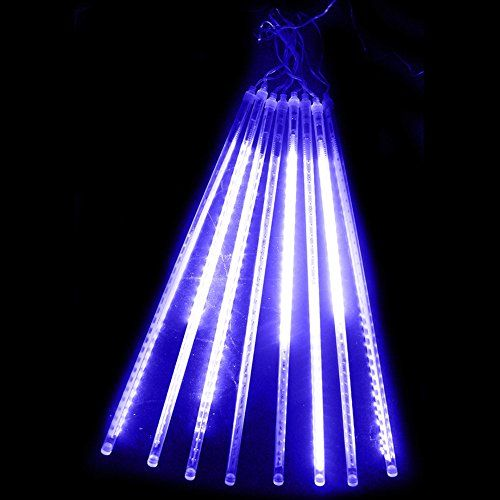 ykl 8 tubes 30cm118 inches 144 leds bright meteor shower strings fairy lightsblue meteor showerfairy