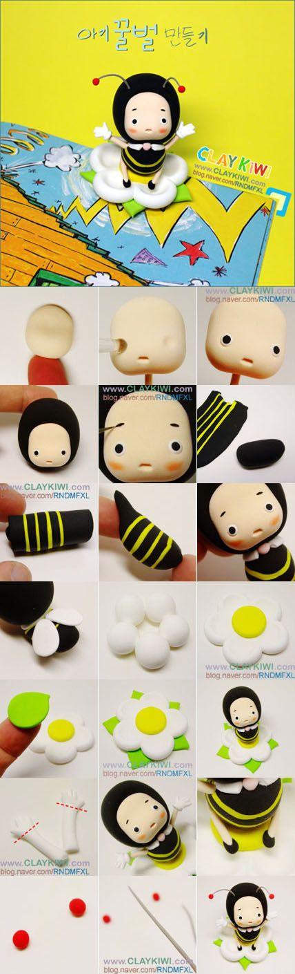 蜜蜂 软陶,Clay Crafts, Fimo, Sculpey , Modelling , Polymer Crafts with Sculpting clay , Free Kids Activities , Clay Projects, Templates and Ideas , Cute, Adorable , Kawaii, cool teen crafts, Critters and Creatures,Japanese crafts miniature , dollshouse,Japan Crafts