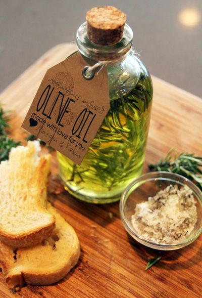 handmade gift: rosemary infused olive oil would look nice in a small basket with a loaf of homemade bread