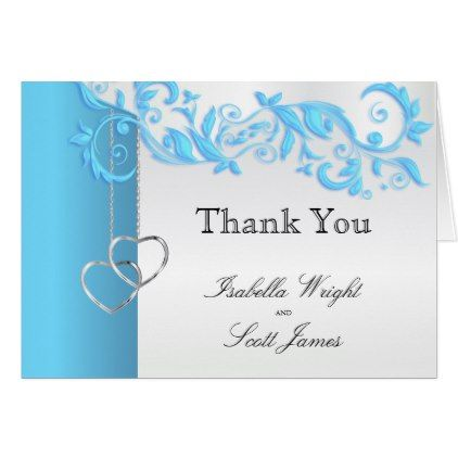 #Baby Blue Floral Design Wedding Card - #wedding gifts #marriage love couples